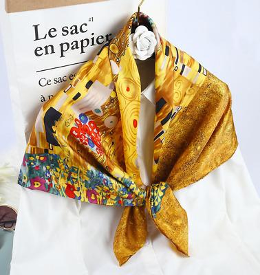 100/% Silk Satin Women Scarf Shawl Wrap neckerchief beige yellow red G005-001