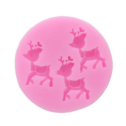3D Reindeer Silicone Mould for cake Icing decoration Xmas Deer Christmas Q