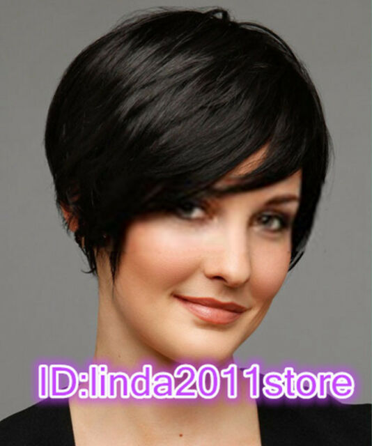 New sexy Women's ladies short black Straight Natural Hair wigs + wig cap