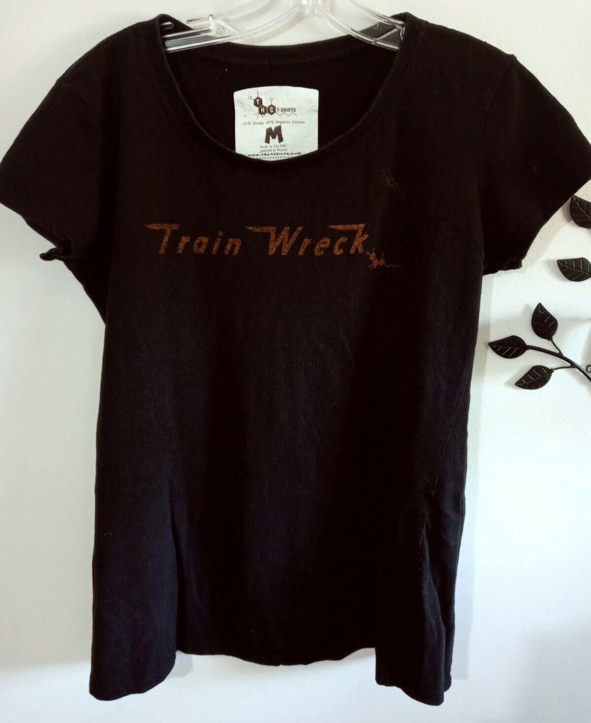 THC T-Shirt Women's Size M Black Organic Cotton & Hemp Train Wreck