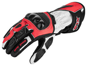 Motorradhandschuhe von XLS Lederhandschuhe Leder Rot Schwarz Weiß Gr. S bis 3XL