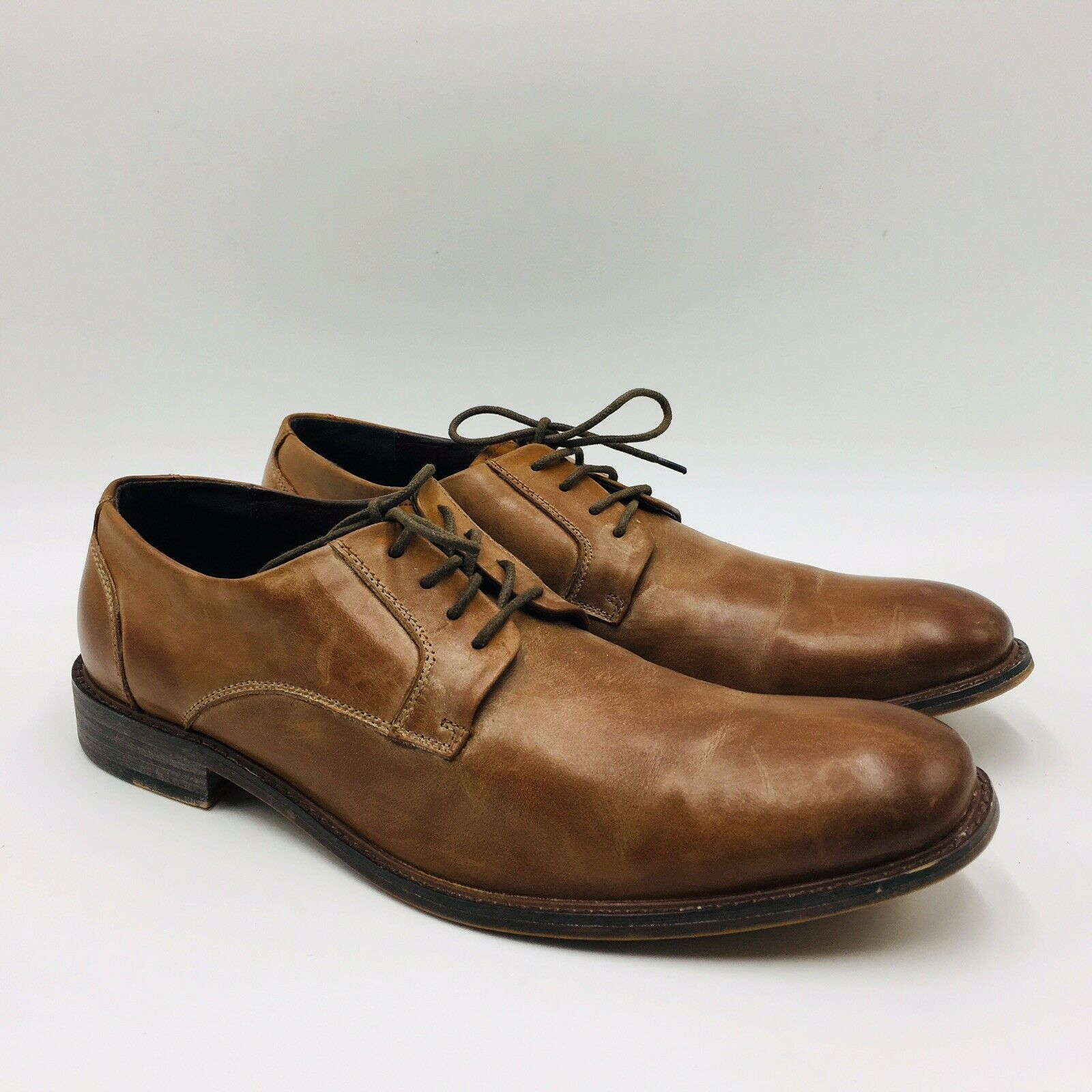 Kenneth Cole Reaction Men's Found It Plain Toe Leather Oxford Size 10.5M Brown