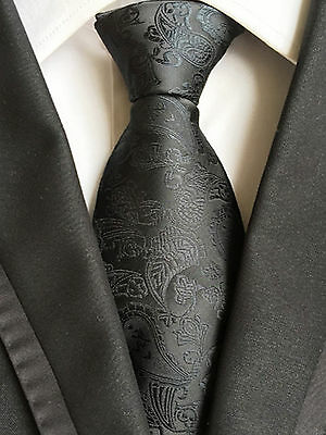 100/% Silk Black Colour Men Tie Paisley Jacquard Woven Formal Men Necktie NT274