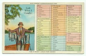 Busy-Person-039-s-Correspondence-Card-Fishing-Old-Postcard