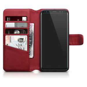 Real-Leather-Wallet-IClassic-Series-Red-Cyber-Case-For-Samsung-Galaxy-S8-PLUS
