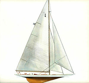 1934-Rainbow-Americas-Cup-J-Sloop-Melbourne-Smith-Lithograph-Defender