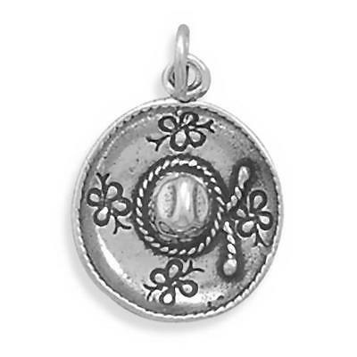 Sombrero Charm Sterling Silver .925 Mexican Hat Mexico Pendant