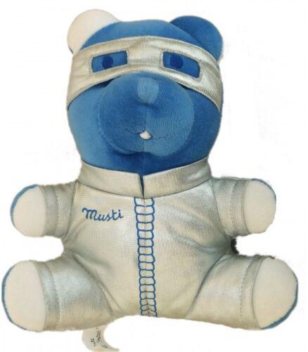 H 20 cm Doudou Ours bleu gris argenté lunettes Musti Mustela