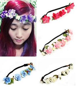 Bohemian-Headband-Hair-Band-Floral-Flower-Rose-Party-Wedding-Hair-Wreaths-HS