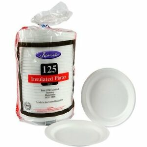 Image is loading 125-Insulated-polystyrene-Large-Food-Plates-Disposable- Plates-  sc 1 st  eBay & 125 Insulated polystyrene Large Food Plates Disposable Plates ...