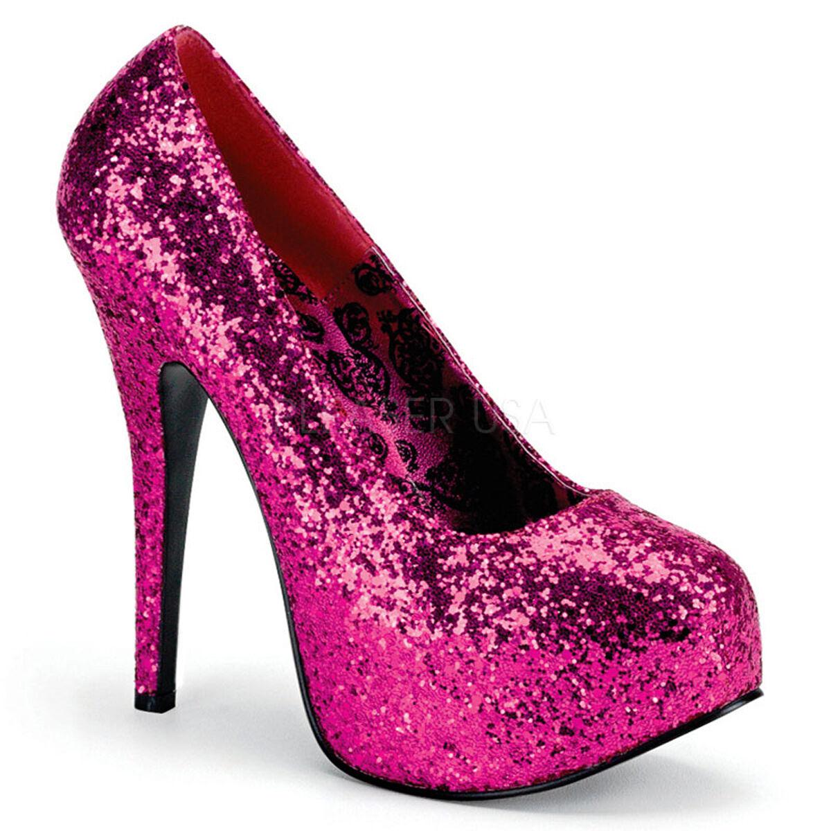 PLEASER 6 Sexy WIDE WIDTH schuhe Hot Rosa Glitter Platform 6 PLEASER  High Heels Pumps 98d773