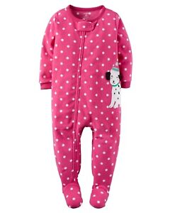 NWT CARTER/'S GIRL FLEECE PINK DOG FOOTED  Blanket Sleeper  SIZE 2T