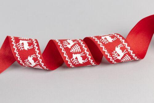 Rouge /& Blanc Renne//Cerf Arbre de Noël ruban pour couronne Making arcs /& Crafts