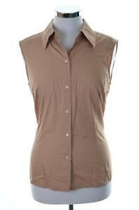 Joop-Womens-Shirt-Sleeveless-Size-42-Medium-Brown-Cotton