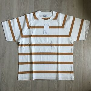 Uniqlo U 90s Skater Striped T Shirt Heavyweight Gold Oversized Baggy Surf Retro