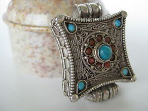 Turquoise-Silver-Gau-Locket-Sterling-filigree-pendant