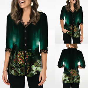 Womens-Floral-Print-3-4-Sleeve-Tops-Ladies-Casual-O-Neck-Buttons-Blouse-T-Shirt