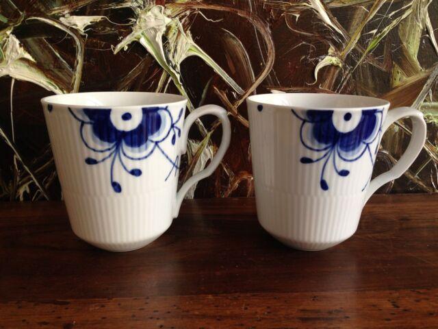 Royal Copenhagen Mega azul/azul estriado Mega - 2 taza de café de 0,37 litros Nuevo