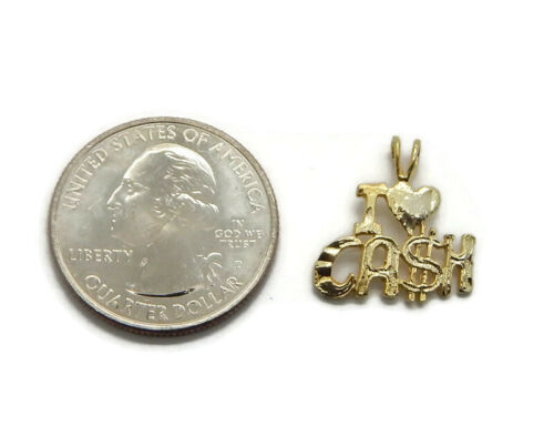 Details about  /I Love Cash Pendant Charm 14k Yellow Gold!!