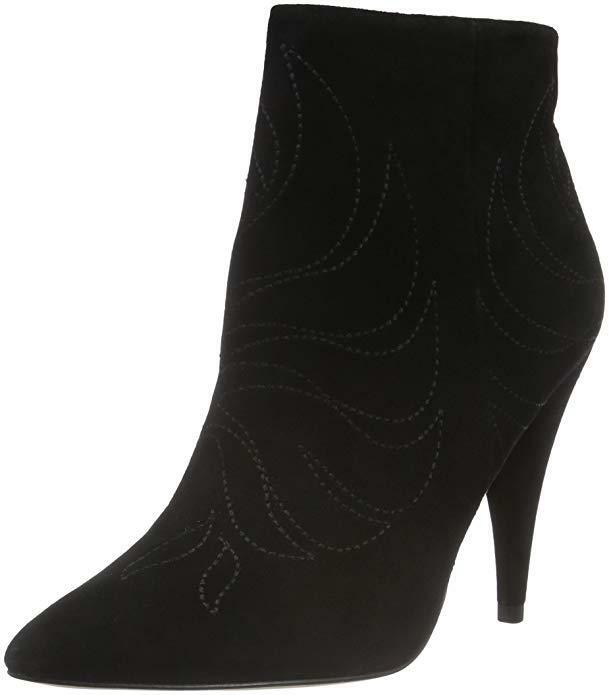 ALDO SIZE 7 40 DINOTO BLACK REAL SUEDE LEATHER HIGH HEEL ANKLE BOOTS BN