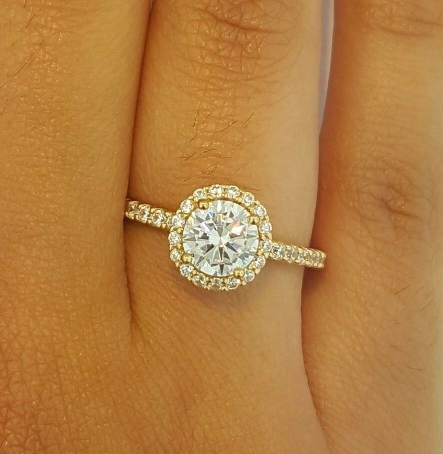 1 CT Diamond Solitaire Halo Engagement Wedding Ring 14k Solid Yellow gold Round