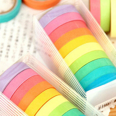 10 x Rainbow Washi Masking Tape Scrapbook Decorative Paper Adhesive DIY Sticker
