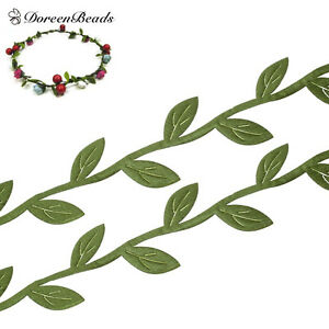 10M-Fabric-Leaf-Garland-lace-Ribbons-webbings-Trim-Green-Sewing-Fabric-Home