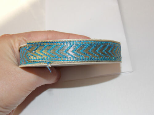 15mm GOLD /& turquoise blue jacquard embroidered ribbon applique trimming