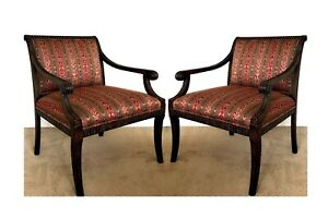 Vintage-Pair-Black-Gessoed-Frame-Regency-Armchairs-Century-Furniture