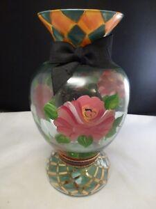 Details About Mackenzie Childs 9 Rose Flower Vase Vtg Hand Painted Alma Beth Checks Roses