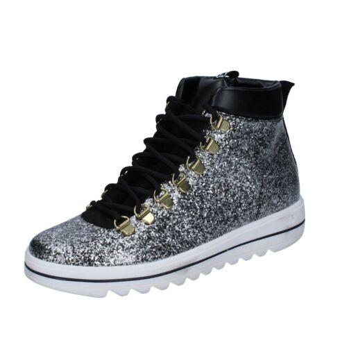 Sneakers 36 Argento Camoscio Trepuntotre Donna Pelle Scarpe Gomma 36 Eu Bs624 pvnqIw44A