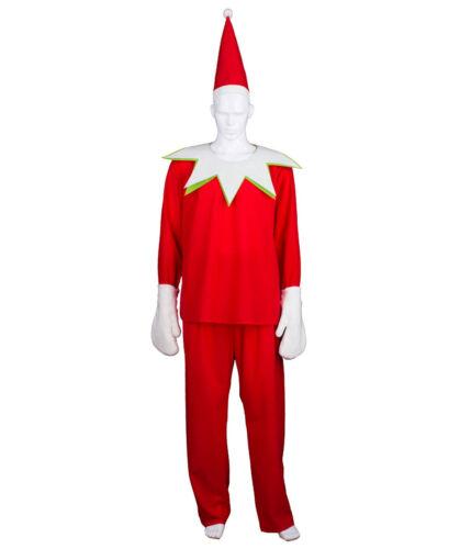 Adult Men/'s Spirit Christmas Cosplay Costume Red Shirt Pants Hat Mittens HC-415
