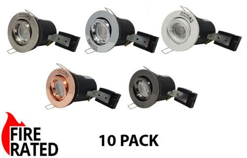 10 x GU10 Tilt Fire Rated Encastré Plafond Downlight spots diamètre 100 mm