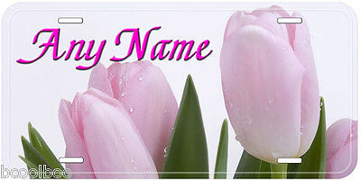 Pink Tulip Flowers Aluminum Any Name Personalized Novelty Car License Plate