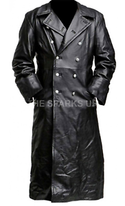 GERMAN-CLASSIC-WW2-MILITARY-OFFICER-UNIFORM-BLACK-LEATHER-TRENCH-COAT-BIG-SALE