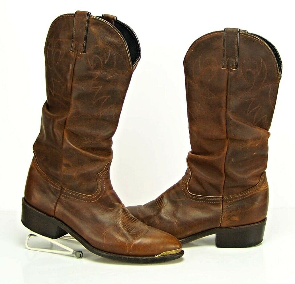DURANGO Men's 8.5, Women's 9.5 Brown Crush Slouch Western Leather Boots gold Tip