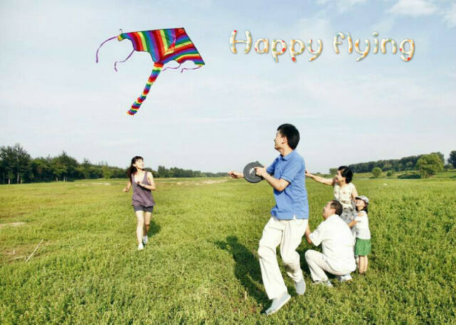 1m Rainbow Delta Kite outdoor sports for kids Toys easy to fly BP