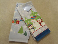 St Nicholas Square Set Of 2 Kitchen Hand Towel Three Snowmen With Tags