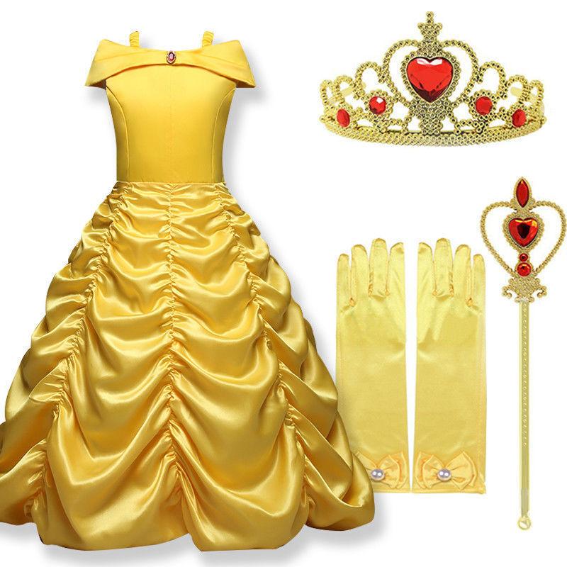 Kinder Mädchen Prinzessin Kleid Cosplay Kostüm Belle Schneewittchen Partykleid