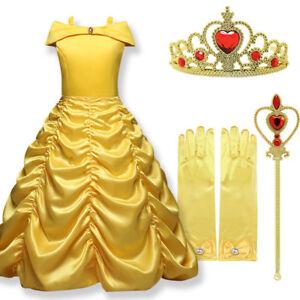 Girls Belle Fancy Dress Up Beauty and the Beast Kids Child Halloween Costume