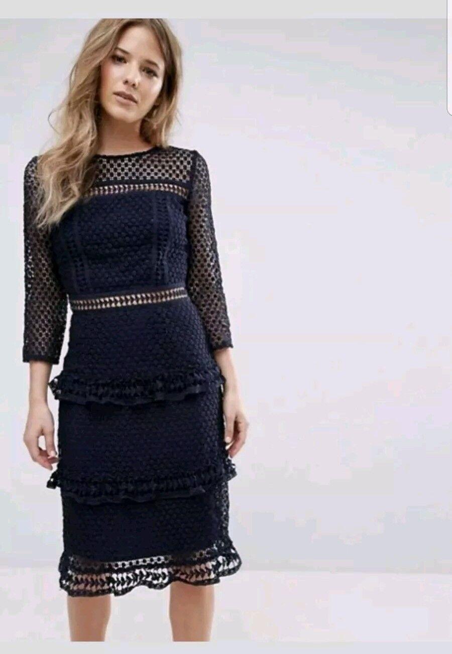 Liquorish Damen Etui Kleid aus Spitze nachtblau 44