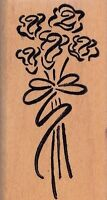 Rose Bouquet Denim Design Wood Mounted Rubber Stamp 1 1/2 X 2 3/4 Free Shipping