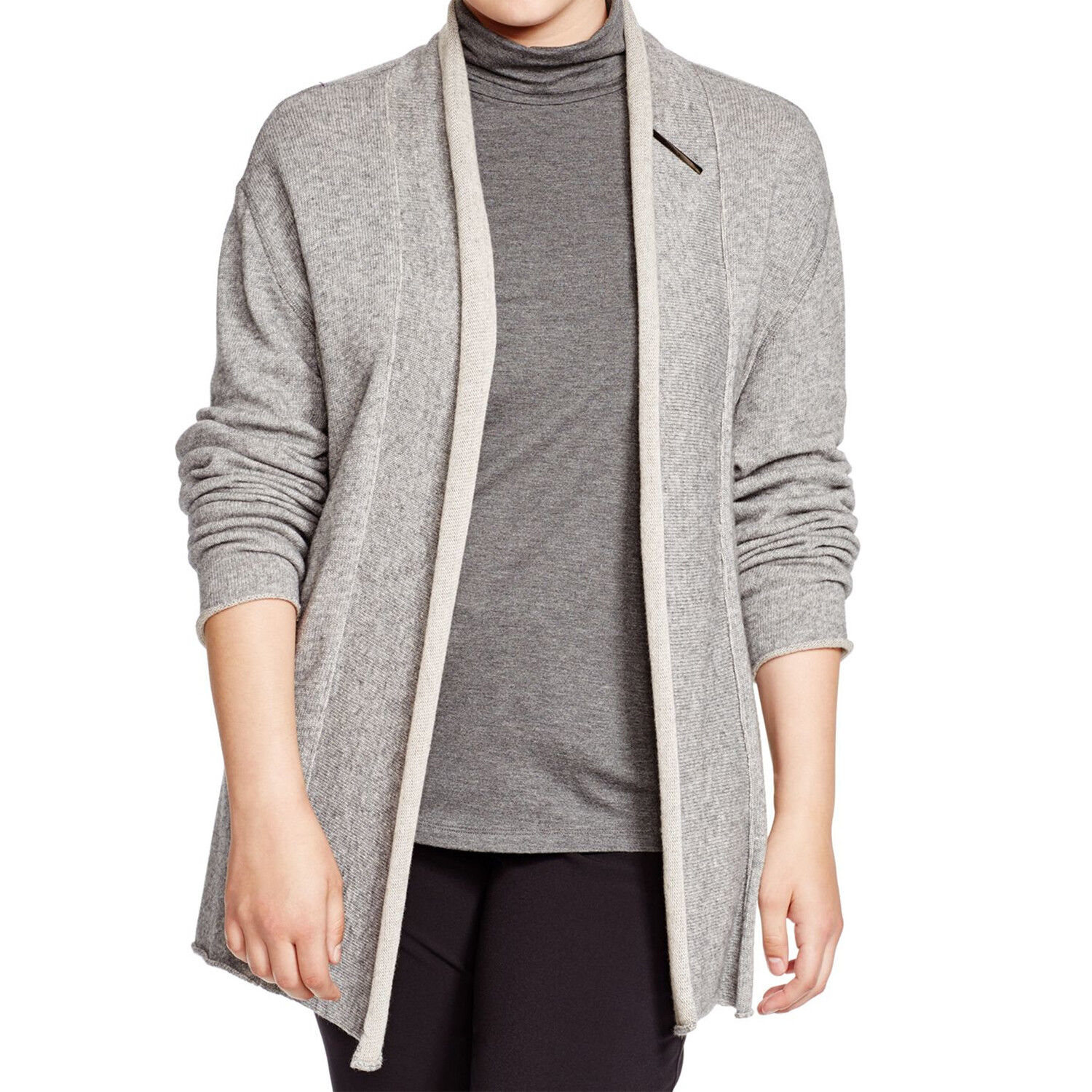 MARINA RINALDI Women's Grey Master Roll Collar Cardigan NWT