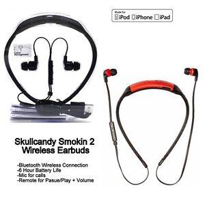 Skullcandy SMOKIN BUDS 2 Wireless Bluetooth Earphones with Mic red white New