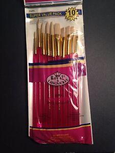 10pc Royal & Langnickel White Bristle Paint Brush Set SVP5 Oil Acrylic Watercolo