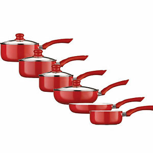 Ecocook Red Saucepan Set Non Stick White Ceramic Coating