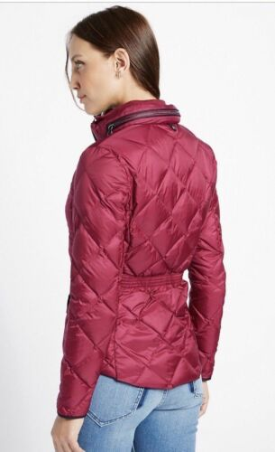 Ex M/&S Womens Raspberry Red Down /& Feather Quilted Jacket with Stormwear RRP £79