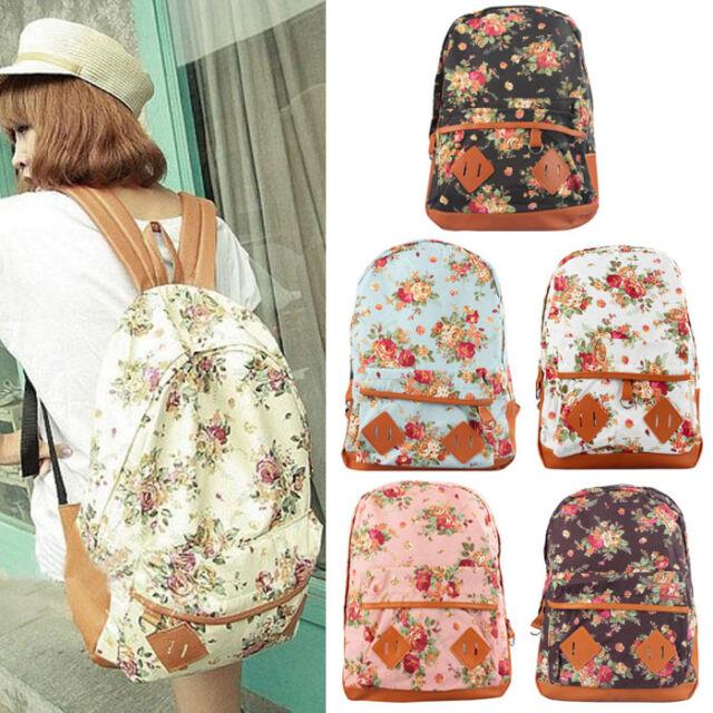 Women Canvas Rucksack Girl Flower Backpack School Book Shoulder Bag Travel Bag