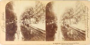 Olanda Amsterdam La Venezia Del Nord, Foto Stereo Vintage Albumina PL62L3