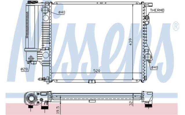 NISSENS Radiador, refrigeración del motor BMW Serie 5 60607A